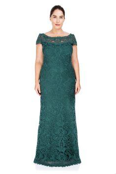 211656241 Corded Embroidery on Tulle Cap Sleeve Gown - PLUS SIZE. Vestido LindoTallas  GrandesModaMadrinasVestidos De ...