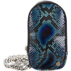 Pre-owned Elisabeth Weinstock Anaconda Manhattan Phone Crossbody Bag (920 SAR) ❤ liked on Polyvore featuring bags, handbags, shoulder bags, blue, man bag, blue handbags, blue crossbody, crossbody hand bags and purse shoulder bag