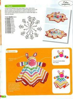 "Photo from album ""Crochet mantas de apego on Yandex. Crochet Rug Patterns, Crochet Vest Pattern, Amigurumi Patterns, Crochet Mouse, Crochet Dolls, Crochet Baby, Crochet Security Blanket, Crochet Ripple Blanket, Baby Staff"