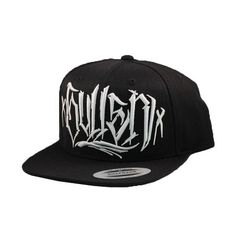 """Black & White Diego Snap-Back Hat by Sullen: This black hat with white embroidery has a snap back so you can adjust it to fit your head perfectly. It has """"Sullen"""" script embroidered on the front and the Sullen logo embroidered on the back. """"Sullen"""" in script and their logo are also screen printed on the underside of the hat's bill. Features contrast eyelets, top pin, and bill. Retail Price: $27.99"""