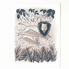 Lion and Cub Print by QuillandFox on Etsy, $15.00