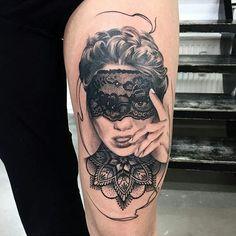 Beautiful Masquerade Woman Tattoo | Venice Tattoo Art Designs