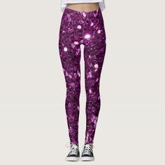 Purple Faux Glitter Sparkles Leggings - fancy gifts cool gift ideas unique special diy customize