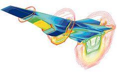 Aérodynamique —Un modèle du NASA X-43 Scramjet, (véhicule hypersonique volant à Mach 7), généré par ordinateur en utilisant un code de Mécanique des Fluides Numérique