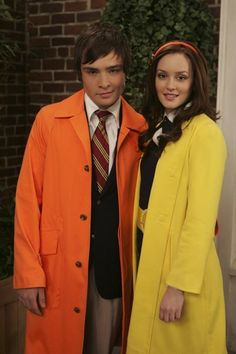 Old school Chuck and Blair...No one can ever pull off an orange trench coat like Chuck Bass