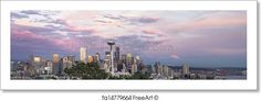 """""""Seattle washington city downtown skyline with puget sound and mount rainier at sunset panorama"""" - Art Print from FreeArt.com"""