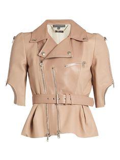 ALEXANDER MCQUEEN Cropped leather jacket. #alexandermcqueen #cloth #jacket