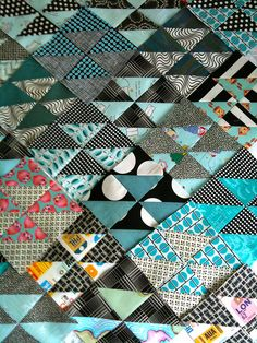 half square triangle quilt  by drury girl, via Flickr