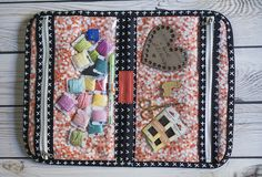 Cross Stitch with Kids at Fresh Lemons Quilts, bag is the Road Trip case by Anna Graham.