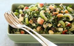 Kale Waldorf Salad // This variation on the classic salad uses kale instead of lettuce and adds apple and walnuts to the dressing without using the typical mayonnaise base. #healthy #salad #recipe