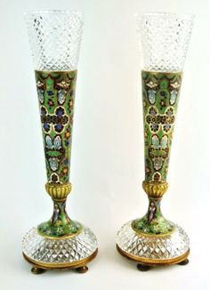 A pair of very unusual 19th century FRENCH Champleve enamel and cut crystal vases,