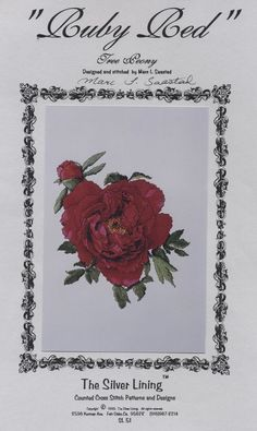 Ruby Red cross stitch pattern Silver Lining floral Tree Peony M Saastad 11X12 #TheSilverLining #Sampler