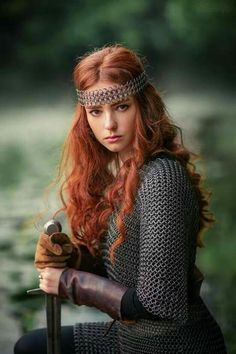 """just-redhair: """"Medieval Woman:"""" Рыцарское (Knightly) © Olga Boyko … - New Hair Inspiration Drawing, Medieval Hairstyles, Fantasy Hairstyles, Viking Dress, Viking Woman, Viking Art, Viking Warrior, Gorgeous Redhead, Redhead Girl"""