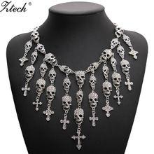 Skeleton skull Cross Jewelry crystal  Statement Women Choker Necklaces Pendants