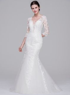 Trumpet/Mermaid V-neck Sweep Train Tulle Lace Wedding Dress (002071570)