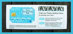 SHOPPING CENTRE SCAVENGER HUNT Credit Card Invitation & Printable Birthday Party Collection (So cute)