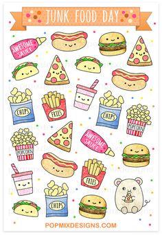 Junk Food Junk Food Stickers - stickers of cute kawaii plannersmatte sticker papersticker sheet is approx. Stickers Kawaii, Food Stickers, Cute Stickers, Anime Stickers, Cute Food Drawings, Cute Kawaii Drawings, Easy Drawings, Food Drawing Easy, Doodles Kawaii