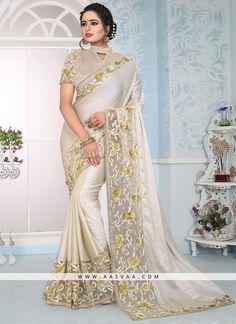 b3288a1b171ec8 Work Type  Embroidery Work Saree Color  Off White Blouse Color  Cream Saree  Fabric  Satin Silk Blouse Fabric  Art Silk Saree Size  Metres Blouse Piece  Size  ...