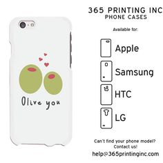 Olive You White Phone Case for Apple iPhone, Samsung Galaxy S, HTC One M8, LG G3