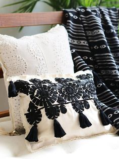 FP One Small Tassle Embroidered Pillow at Free People Clothing Boutique