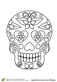 tonnes of awesome colouring pages! Bricolage Halloween, Halloween Crafts, Halloween Decorations, Sugar Skull Design, Sugar Skull Art, Sugar Skulls, Skull Coloring Pages, Coloring Book Pages, Skull Template