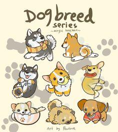 Dog Breed Series Keychains by Pawlove-Arts on DeviantArt Cute Kawaii Drawings, Cute Animal Drawings, Chibi Dog, Cute Dog Drawing, Cute Kawaii Animals, Dog Crafts, Dog Illustration, Cute Doodles, Cartoon Design