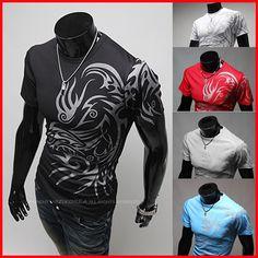 Cheap H449 envío gratis nueva moda europea estilo de manga corta para hombre de la camiseta del o cuello del diseño del tatuaje quick dry cotton 5 colores, Compro Calidad Camisetas directamente de los surtidores de China:               *** Bienvenidos a nuestra tienda ***