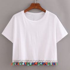 White Contrast Fringe T-Shirt