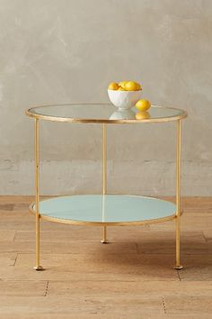 lacquered side table - with reversible base that flips from cream to blue