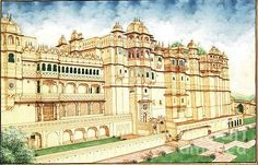 Mughal Paintings, Persian Miniatures, Rajasthani art and other fine Indian paintings for sale at the best value and selection. Watercolor Architecture, Architecture Wallpaper, Watercolor Landscape, India Architecture, Futuristic Architecture, Rajasthani Art, Rajasthani Painting, Monument In India, Udaipur