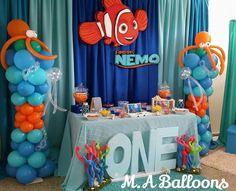 Baby Boy 1st Birthday, First Birthday Parties, Birthday Party Themes, First Birthdays, Birthday Ideas, Diy Birthday Decorations, Finding Nemo, Baby Shower, Balloon Decorations