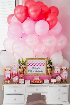 """Chevron Ombre baby shower Table for Perfectly Sweet's lovely client expecting a little baby Girl """"Eva"""".Heidi had an amazing eye for detail and created the fabulous balloon backdrop for her shower and I just loved it. Baby Shower Cake Pops, Baby Shower Favors, Baby Shower Parties, Baby Boy Shower, Bridal Shower, Baby Shower Table Centerpieces, Baby Shower Decorations For Boys, Balloon Backdrop, Balloon Decorations"""