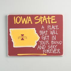 Iowa State Map Sign Textual Art