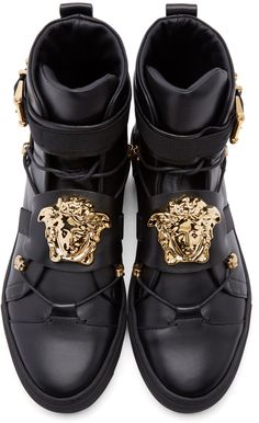 Versace: Black Leather Medusa High-Top Sneakers