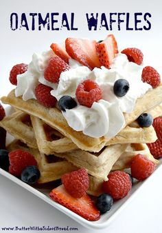Butter With a Side of Bread: Oatmeal Waffles: 3/3*, delish! Cut recipe in half and added 1/4 tsp vanilla and chopped walnuts, used almond milk. Note: use full amount of milk next time, batter was thick. Served w/cream cheese and fruit. Yield: 4 individual waffles Made 12/31/15