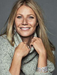 Gwyneth Paltrow wears Cavin Klein sweater with Tous jewelry