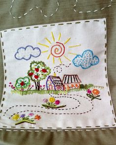 Just a pic. Cushion Embroidery, Embroidery Sampler, Hand Embroidery Stitches, Silk Ribbon Embroidery, Embroidery Hoop Art, Hand Embroidery Designs, Vintage Embroidery, Cross Stitch Embroidery, Creative Embroidery