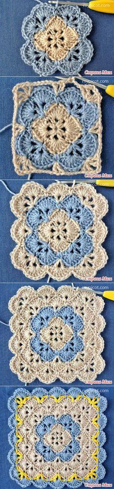 Crochet gifts for girls stitches 16 ideas Crochet Motifs, Crochet Blocks, Granny Square Crochet Pattern, Crochet Squares, Crochet Blanket Patterns, Crochet Stitches, Stitch Patterns, Knitting Patterns, Knit Crochet
