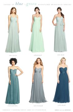 Shades of pale blue and soft green bridesmaid dresses to mix and match
