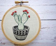 3 inch Hoop Art 'Cactus 3' Modern by CheeseBeforeBedtime on Etsy