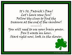 St Patrick Day Scavenger Hunt from fivelittlechefs.com #printable