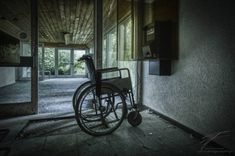 After a call to the healer on TV, the wheel chair instantly got empty… Urban Exploration, Healing, Abandoned Places, Distance, Empty, Photography, Halloween, Photograph, Photography Business