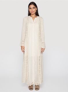 Vintage Prairie Dress The Johnny Was VINTAGE PRAIRIE DRESS is a vintage-inspired off-white maxi dress with feminine details throughout. Openwork crocket and scalloped details along the long sleeves, lace edging, tonal embroidery, and pintucked accents complete the romantic look.  - Off-White Rayon Georgette - Slip Included - Full-Button Front, Long Sleeves, Maxi Skirt - Care Instructions: Machine Wash Cold, Hang Dry