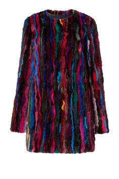 The DVF Fur Finale Two is a chic statement coat, in colorful dyed rabbit fur stripes. With hidden hook closures and a straight silhouette.