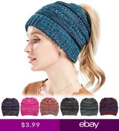 Womens Ponytail Cap Warm Knit Crochet Stretch Ski Slouch Skullies Beanie  Hat Knit Beanie cfad05dd2b4d