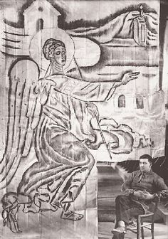 Spyros Papaloukas in front of a large scale drawing at the Amphissa Cathedral Religious Paintings, Religious Art, Greek Art, Greeks, Vincent Van Gogh, Painters, Cathedral, Contemporary Art, Scale