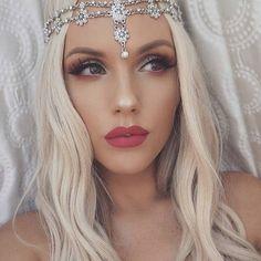 SILVER Hair Jewelry Head Chain Head Piece Flower Pearl Bridal