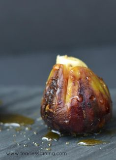 Figs single darkGrilled Brie Stuffed Figs with Honey   http://www.fearlessdining.com  #figs #stuffed figs #glutenfree