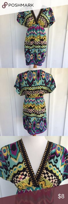 Colorful studded summer dress Colorful summer dress with beaded studs. Size small.  ✮ Condition:  Used┊ Great condition, the top bead fell off as shown in the photo and a couple of small snags  ✮ Size:  ⇢ Small ⇢ Elastic waistband  ✮ Closet Rules:  ⇢ NO S