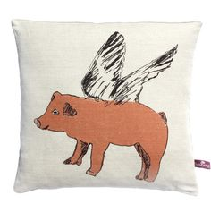 Pink Pigs Can Fly Cushion - Complete with Feather Pad